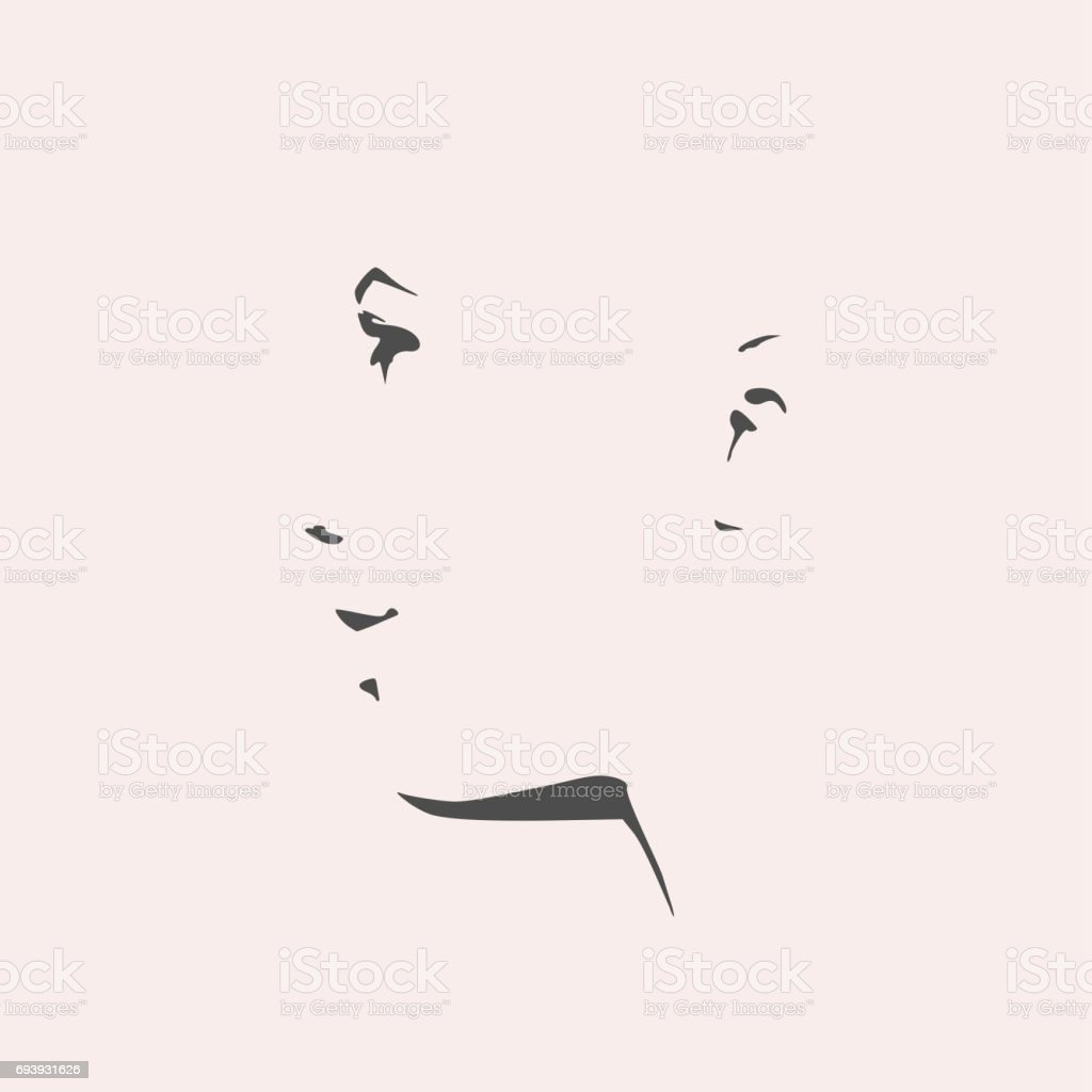 Silhouette of a female head. Face side view. vector art illustration