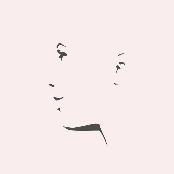 silhouette of a female head. face side view. - female faces stock illustrations, clip art, cartoons, & icons