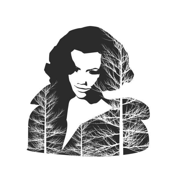 illustrazioni stock, clip art, cartoni animati e icone di tendenza di silhouette of a female head. - woman portrait forest
