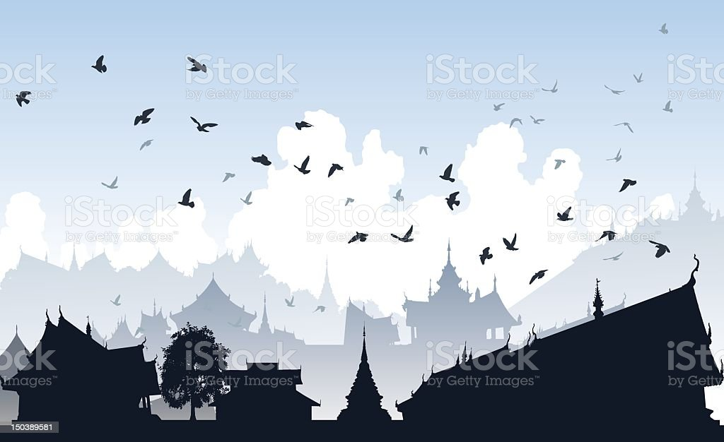 Silhouette of a flock of birds in an eastern city royalty-free stock vector art