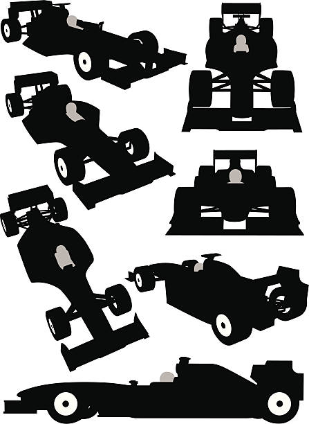 Silhouette of a Formula One car seen from different angles Formula One car silhouettes. indy racing league indycar series stock illustrations