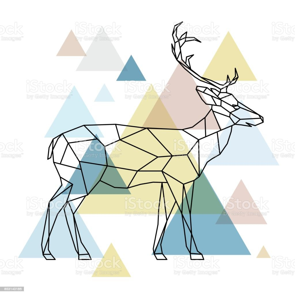 Silhuetten av en geometrisk rådjur stående på sidan. Skandinavisk stil. Vektorillustration. vektorkonstillustration