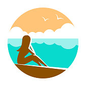 Silhouette of a girl at a beach resort. Sits on the seashore. Vector round illustration.