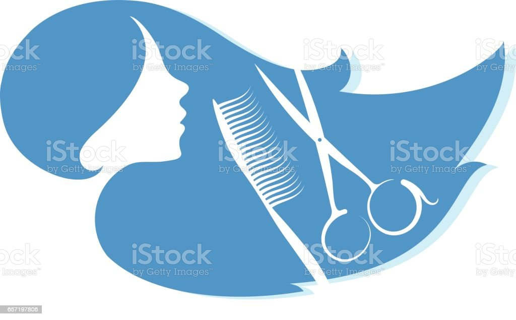 Silhouette of a girl for a beauty salon vector art illustration
