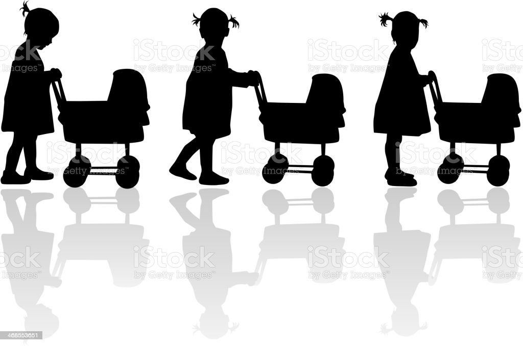Silhouette of a girl with cart for dolls vector art illustration