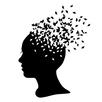 Silhouette of a girl with leaves clipart