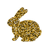 Silhouette of a Golden rabbit. Gold sequins. Vector illustration. Easter icon.