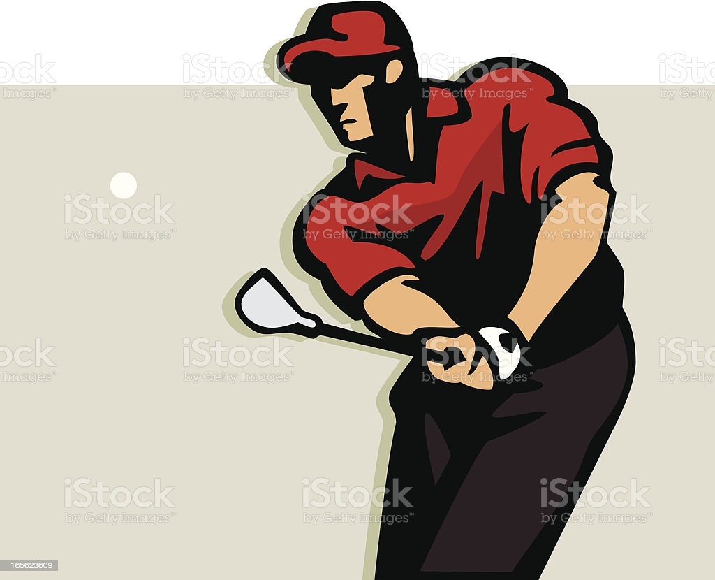 Silhouette of a golfer doing a chip shot vector art illustration
