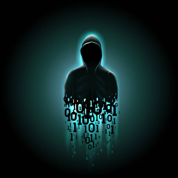 Silhouette of a hacker in a hood with binary code on a luminous blue background, hacking of a computer system, theft of data Silhouette of a hacker in a hood with binary code on a luminous blue background, hacking of a computer system, theft of data hacker stock illustrations
