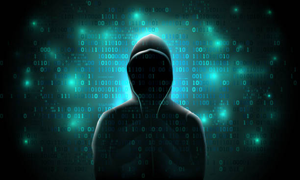 Silhouette of a hacker on a background with binary code and lights, hacking of a computer system, theft of data Silhouette of a hacker on a background with binary code and lights, hacking of a computer system, theft of data hacker stock illustrations