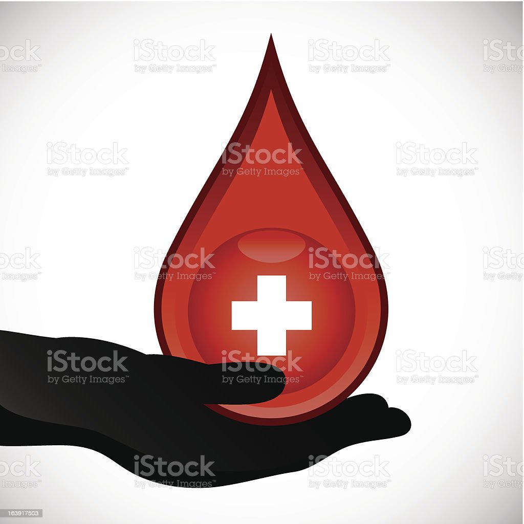 Silhouette of a hand holding a large drop of blood vector art illustration
