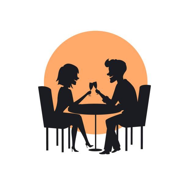illustrazioni stock, clip art, cartoni animati e icone di tendenza di silhouette of a happy cheerful couple in love on a romantic date in the restaurant - dinner couple restaurant