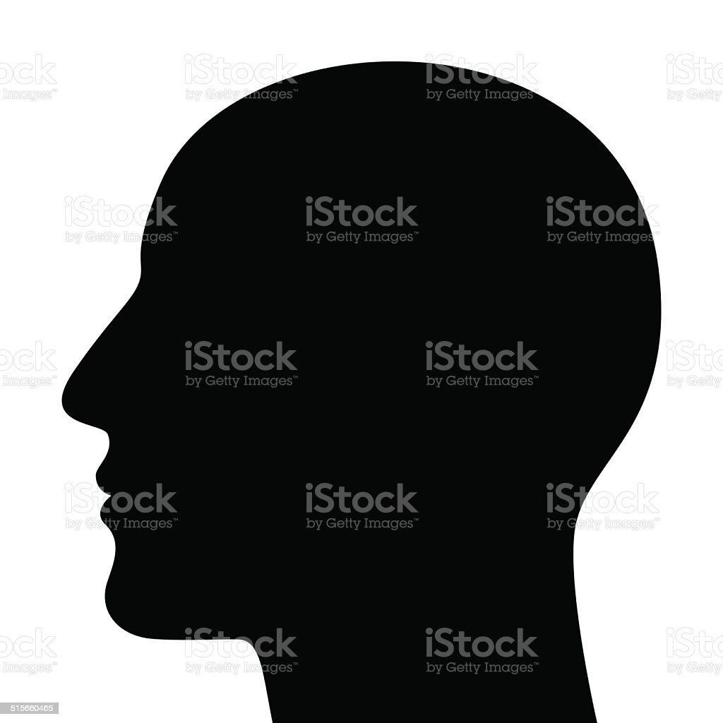 Silhouette of a head vector art illustration