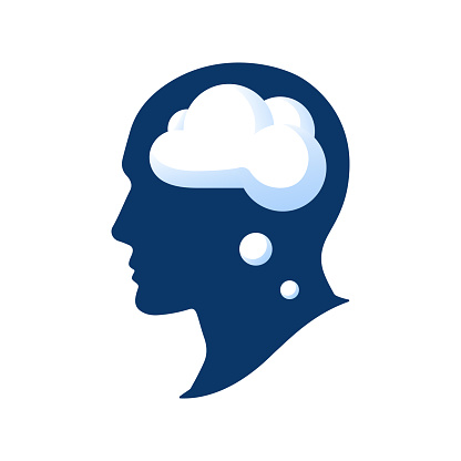 Silhouette of a head with a cloud vector illustation isolated on white background. Thought in the head of man. Cloud in human head
