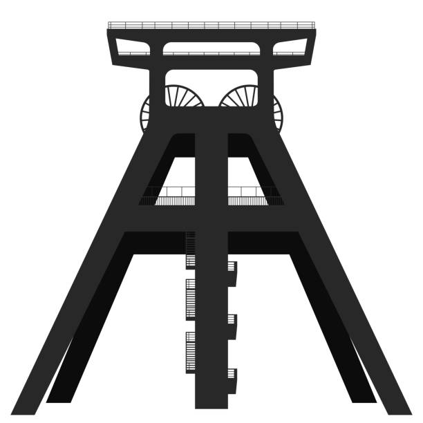 Silhouette of a headframe of a coal mine isolated on white background. Silhouette of a headframe of a coal mine isolated on white background. Vector EPS10 essen stock illustrations