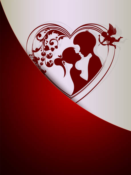 silhouette of a heart with a loving couple with a cupid in a pocket - leap year stock illustrations, clip art, cartoons, & icons