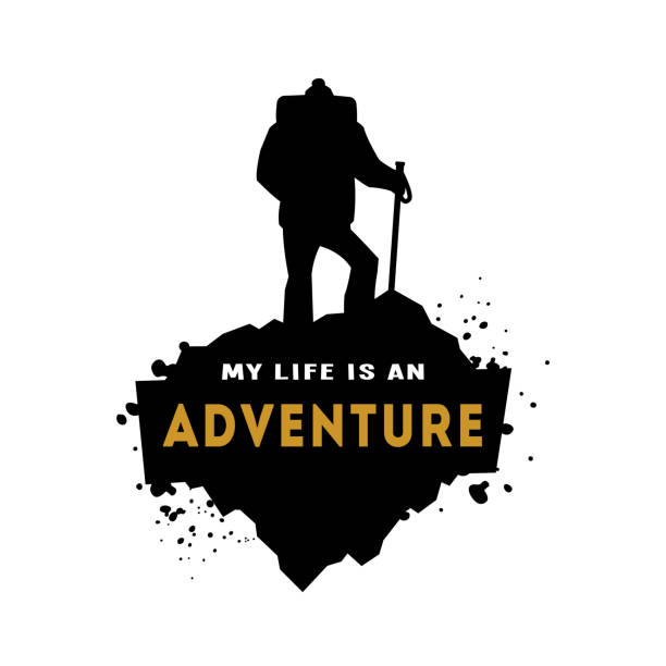 Silhouette of a hiker with an inscription. vector art illustration
