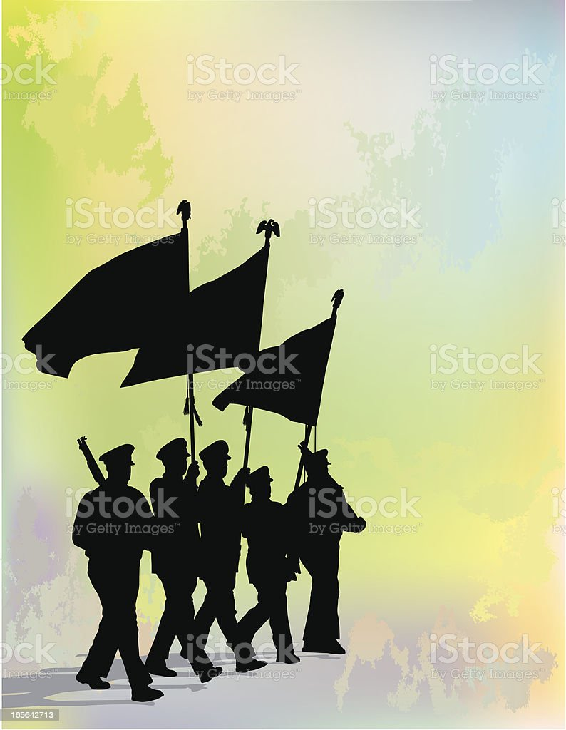 A silhouette of a honor guard in front of a rainbow vector art illustration