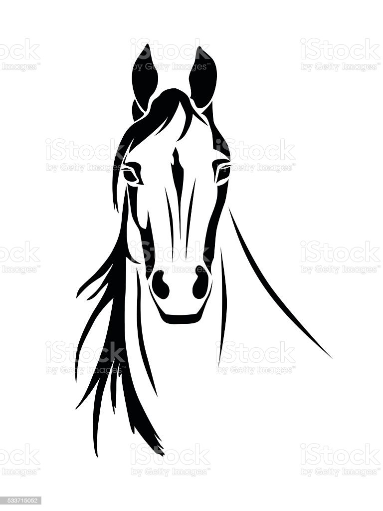 Silhouette Of A Horse Head Front View Stock Illustration Download Image Now Istock
