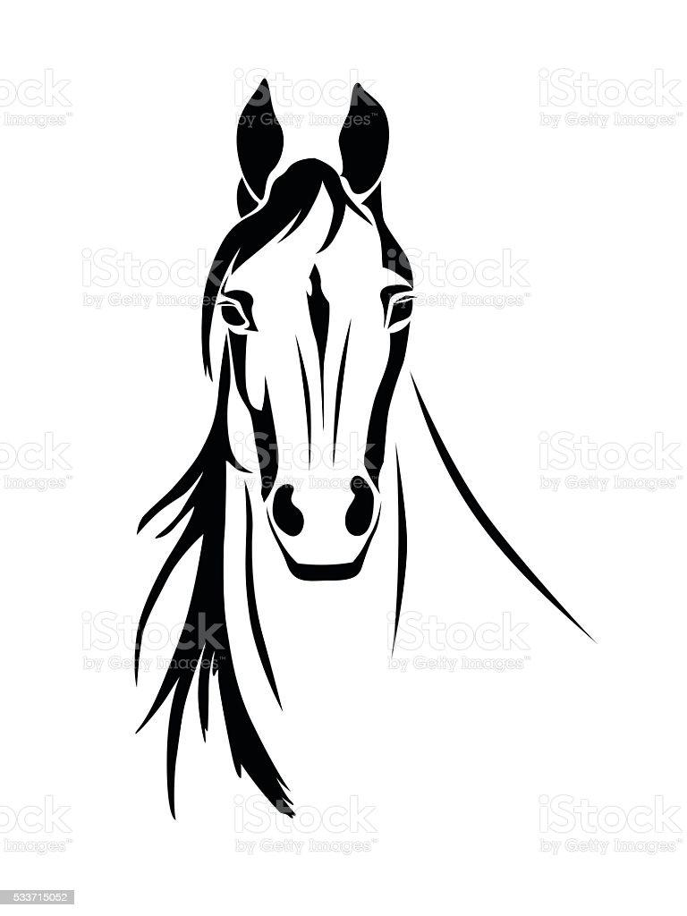 Silueta de un caballo de vista de frente - ilustración de arte vectorial