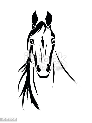 Silhouette Of A Horse Head Front View Stock Vector Art ...
