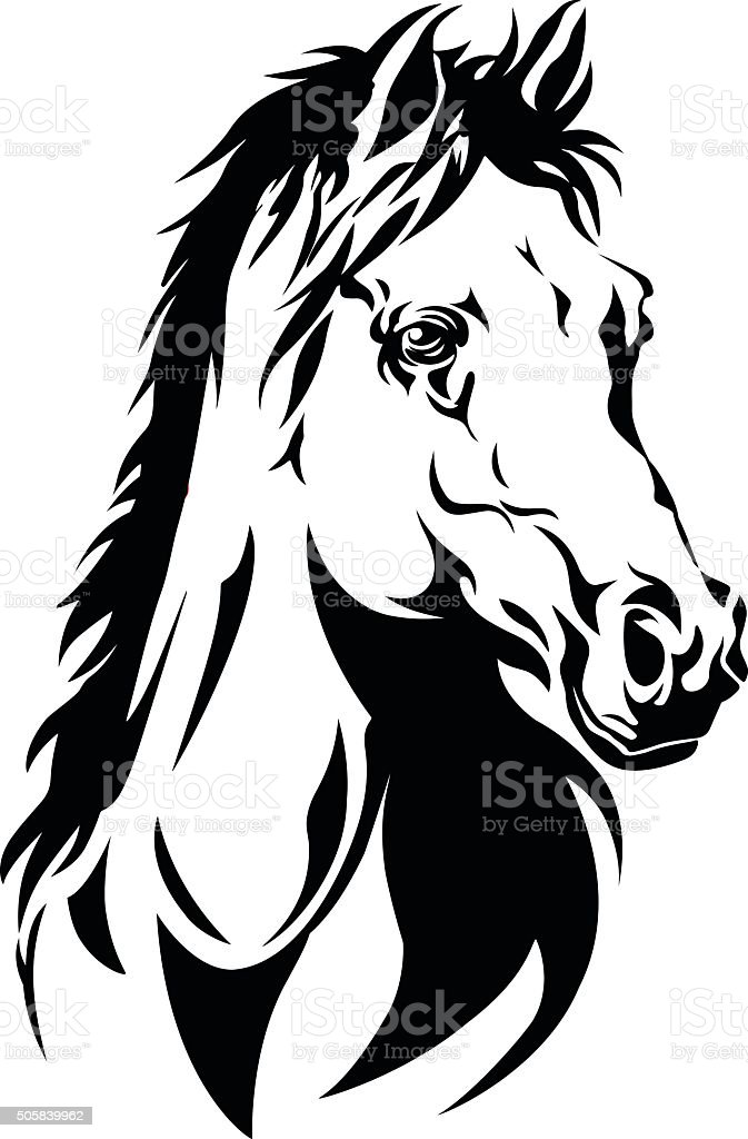 Silhouette Of A Horses Head Stock Illustration Download Image Now Istock