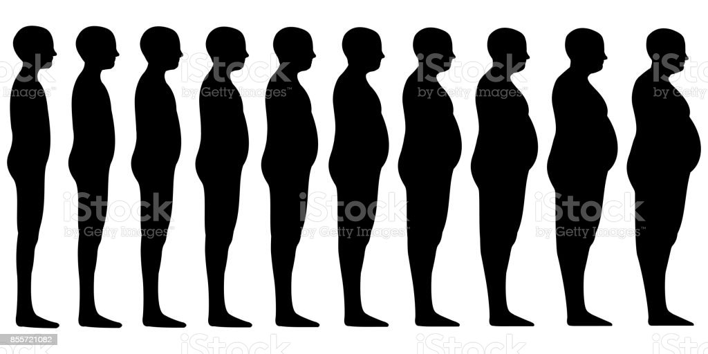 Silhouette of a human men set Blend from thin to slim to thick fat, vector fit slim man obesity, concept of weight loss, health and healthy lifestyle vector art illustration