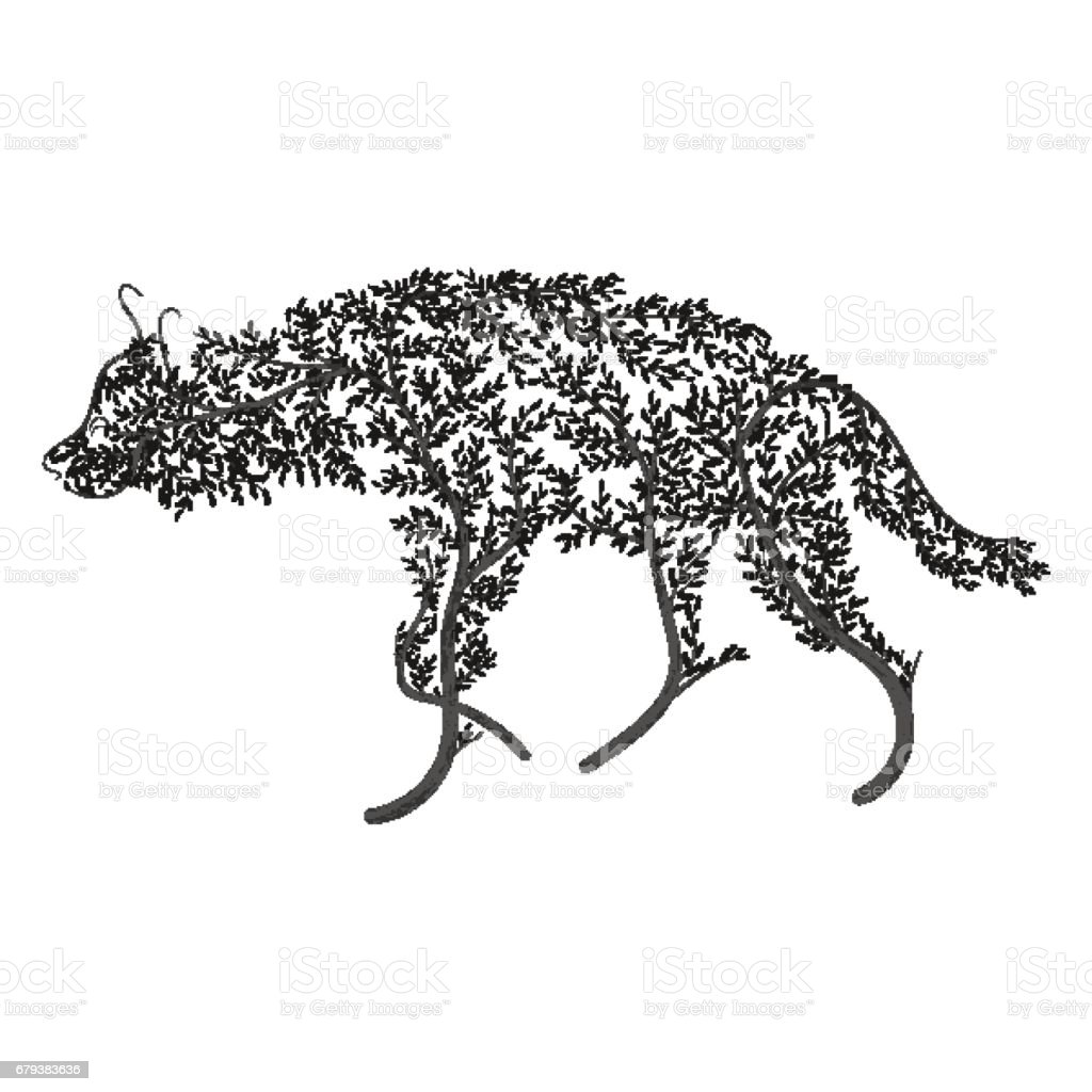 Silhouette of a hyena stylized by bushes on a white background.  For use as logos on cards, in printing, posters, invitations, web design and other purposes. royalty-free silhouette of a hyena stylized by bushes on a white background for use as logos on cards in printing posters invitations web design and other purposes stock vector art & more images of africa