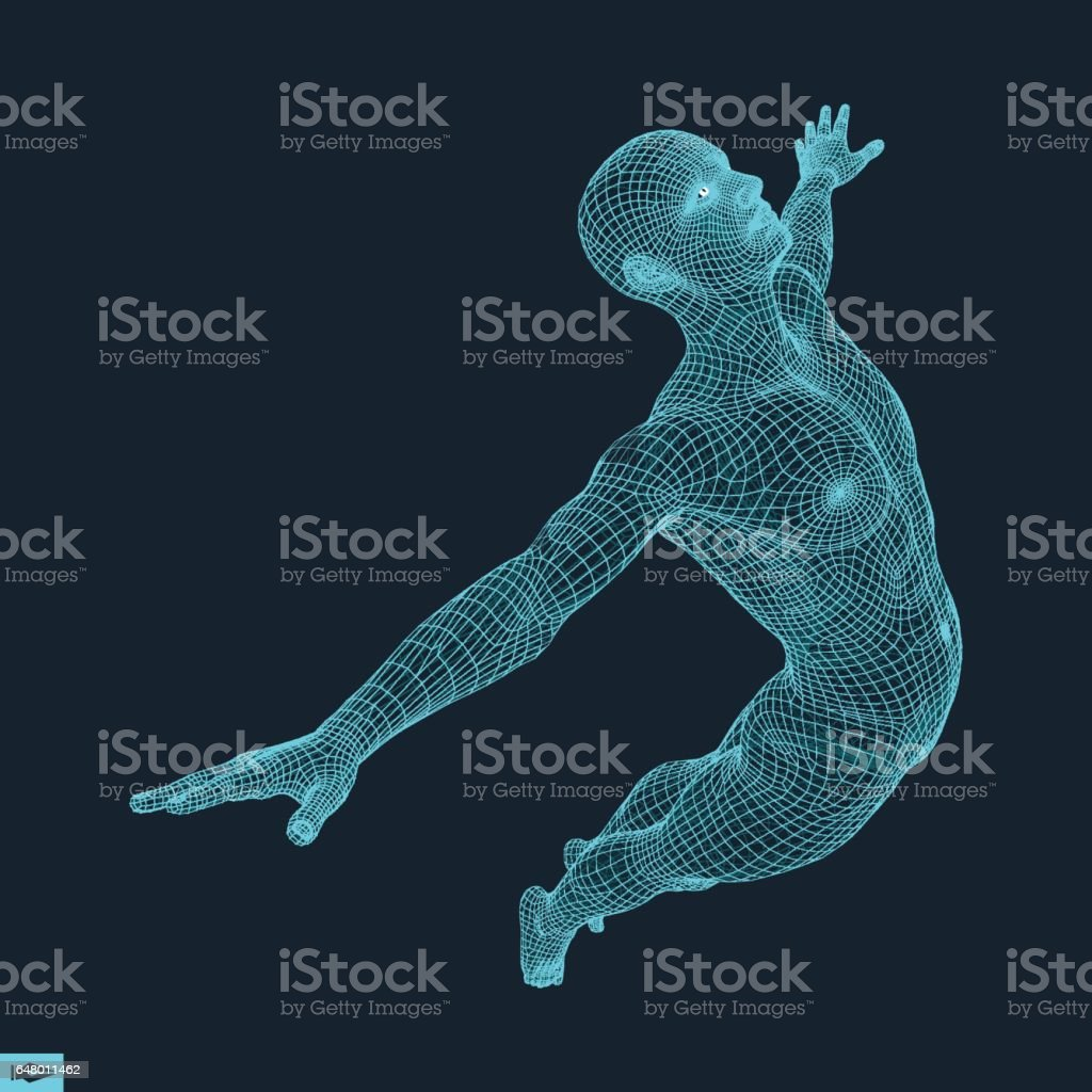 Silhouette of a Jumping Man. 3D Model of Man. vector art illustration