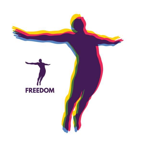 Silhouette d'un homme sautant. Concept de liberté. Illustration vectorielle. - Illustration vectorielle