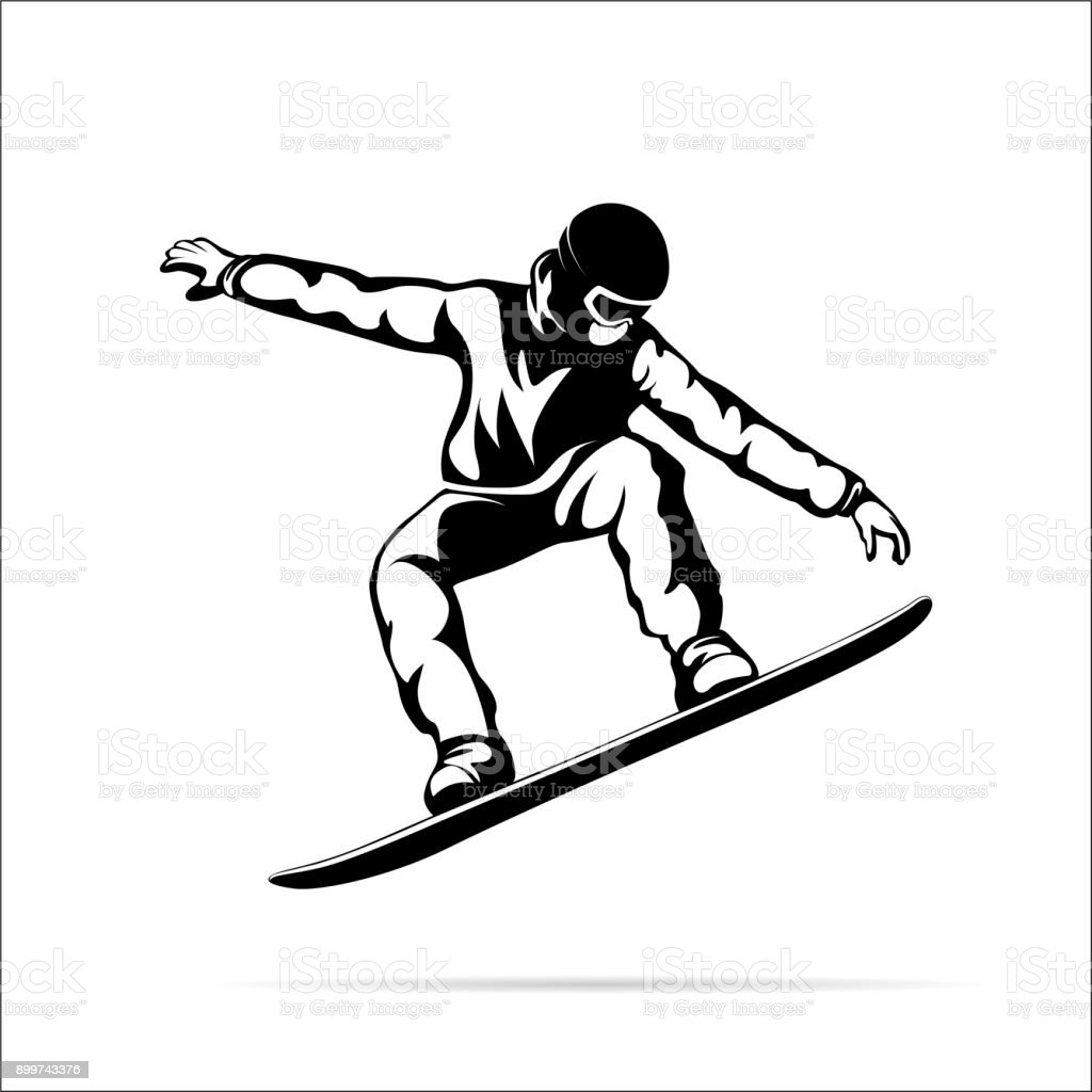 silhouette of a jumping snowboarder vector art illustration