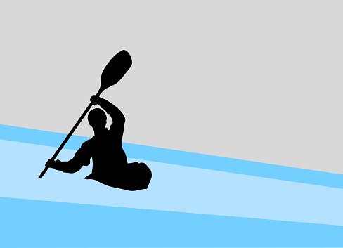 silhouette of a kayaker