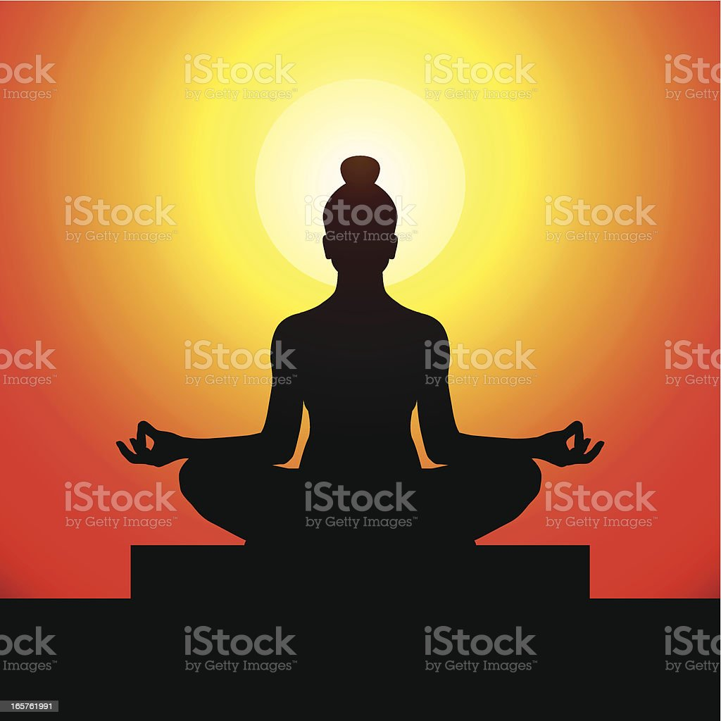 Silhouette of a lady doing yoga at sunset royalty-free silhouette of a lady doing yoga at sunset stock vector art & more images of asia