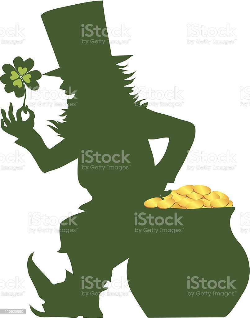 Silhouette of a leprechaun on St Patrick's Day royalty-free stock vector art