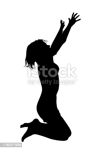Silhouette of a lonely woman kneeling on the floor and asking for help and praying, arms up