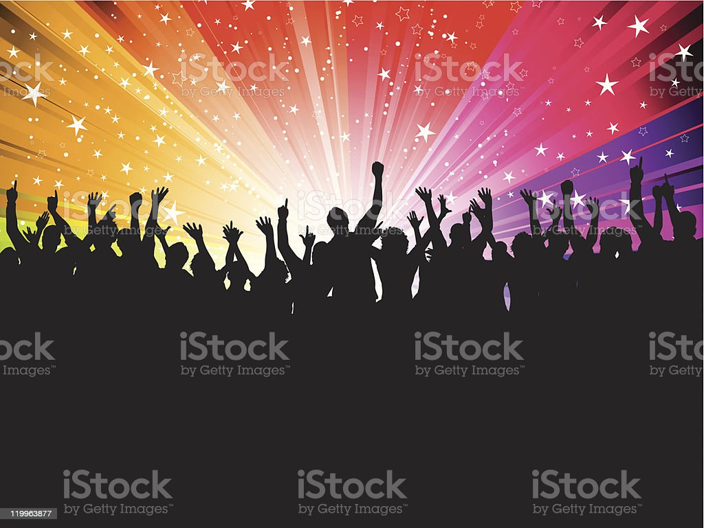 Silhouette of a lot of people partying vector art illustration