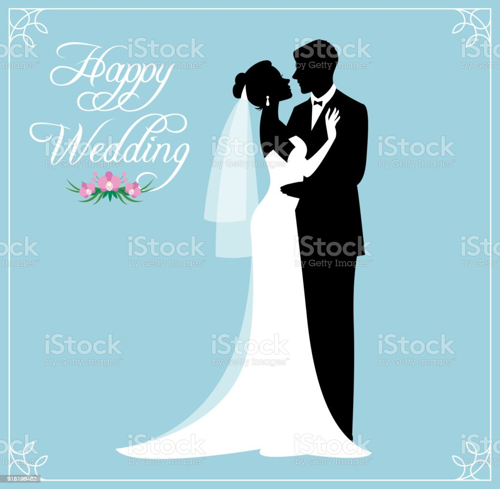 Silhouette Of A Loving Couple Of Newlyweds Groom And Bride In ...