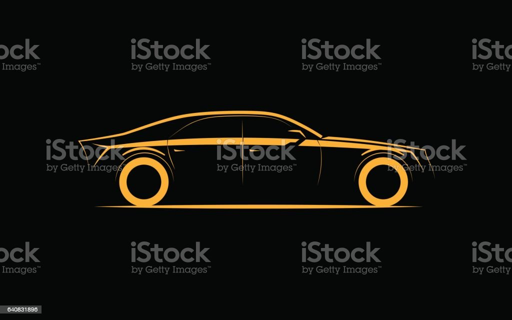 silhouette of a luxury business car on a black background vector art illustration
