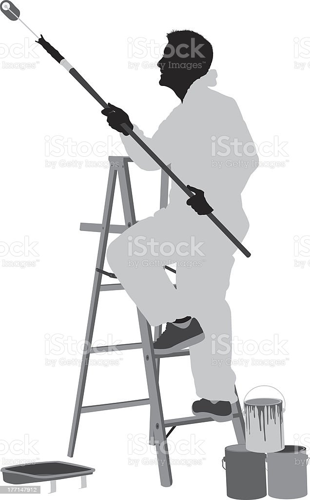 Silhouette of a male painter at work vector art illustration