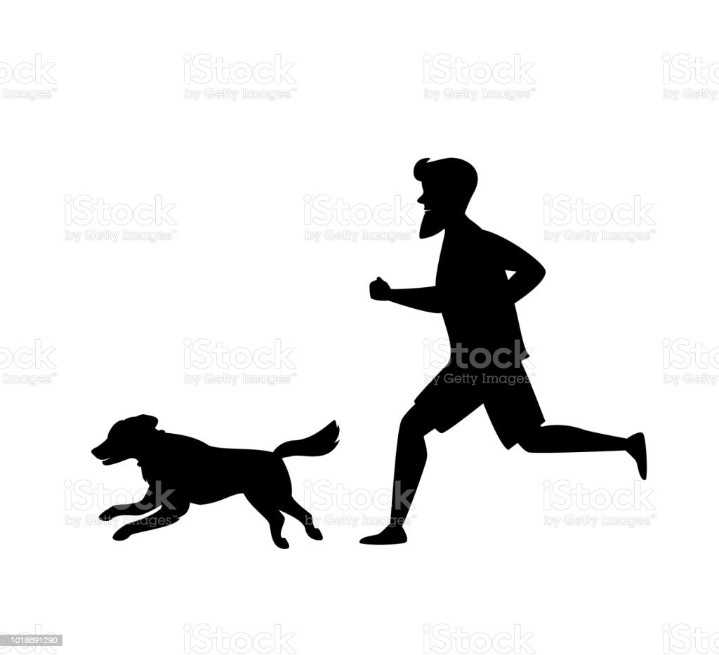 silhouette of a man and dog running together vector art illustration