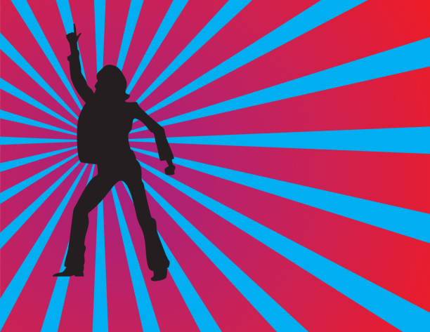 Silhouette of a man doing a disco dance stylish disco dancer in action  -silhouette disco dancing stock illustrations