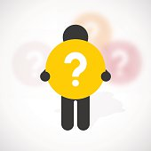 silhouette of a man holds yellow question mark