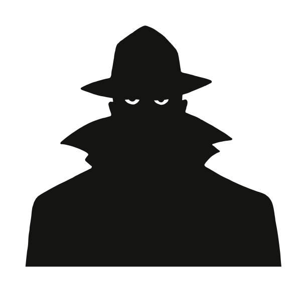 Silhouette of a Man in a Trench Coat and Hat Silhouette of a Man in a Trench Coat and Hat surveillance stock illustrations