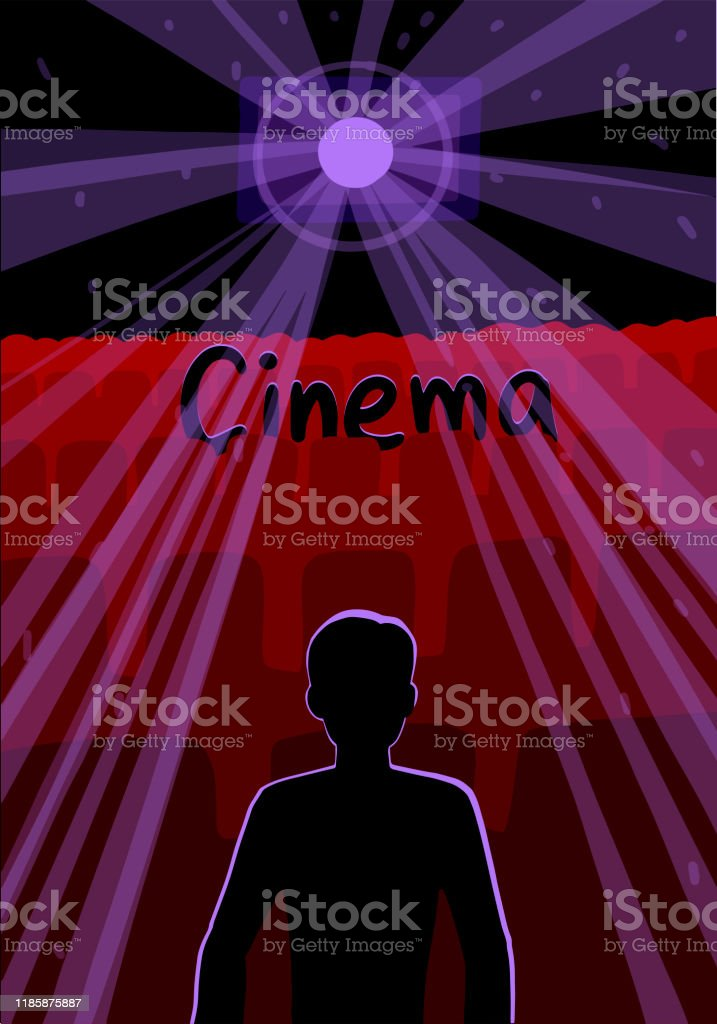 Silhouette Of A Man In An Empty Dark Movie Theater Vector Illustration Stock Illustration Download Image Now Istock