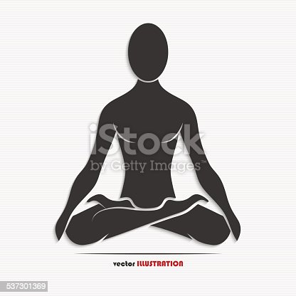 Silhouette Of A Man In The Yoga Pose Stock Vector Art More Images 2015 537301369