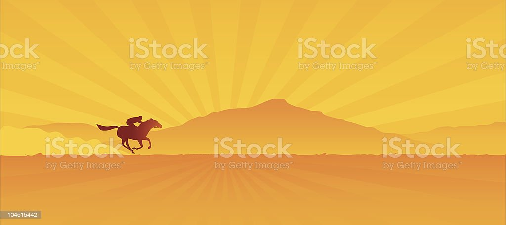 A silhouette of a man riding a horse at dawn royalty-free a silhouette of a man riding a horse at dawn stock vector art & more images of activity