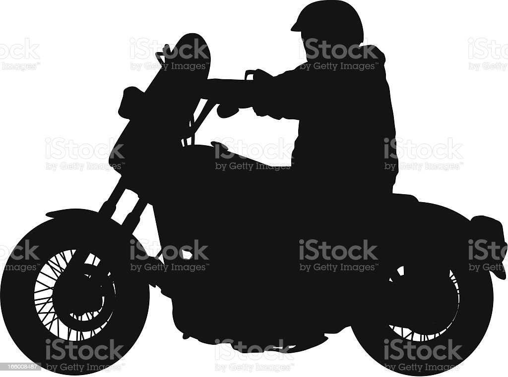 Silhouette of a man riding motorcycle vector art illustration