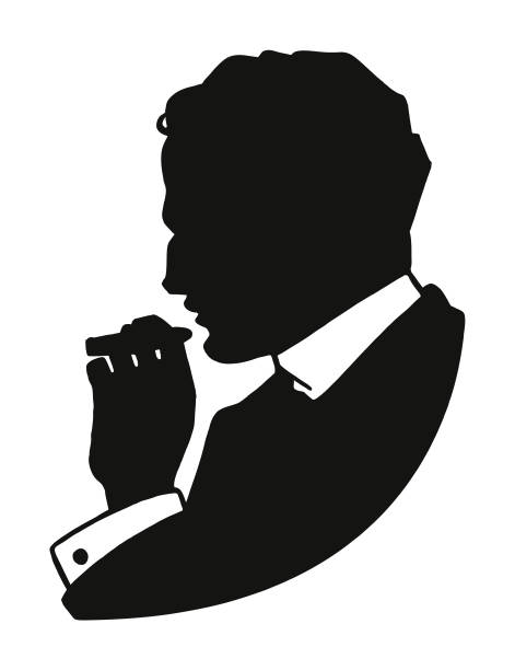 stockillustraties, clipart, cartoons en iconen met silhouet van een man een sigaar roken - guy with cigar