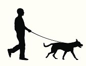 Silhouette of a man walking a dog over a white background