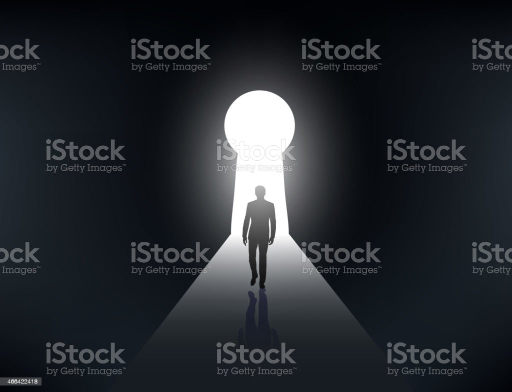 silhouette of a man walking in the light vector art illustration